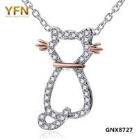 GNX8727 Genuine 925 Sterling Silver Cat Necklace Collares 2015 Fashion Jewelry Joyas De Plata 925 CZ