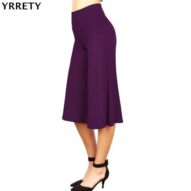 YRRETY 2018 New Fashion Knee Length   Wide     Leg     Pants   Women Solid Loose High Waist   Pants   Feminine Summer Casual Pleated Trousers