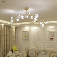 Post Modern Lustre Gold Led Chandeliers Lighting Glass Dining Room Led Pendant Chandelier Lights Bedroom Hanging