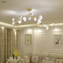 ФОТО post modern lustre gold led chandeliers lighting glass dining room led pendant chandelier lights bedroom hanging light fixtures