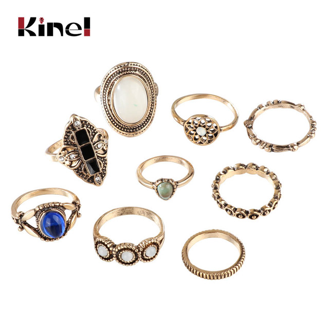 Kinel Punk Opal Stone Midi Knuckle Rings Set For Women Boho Crystal Anillos Ring