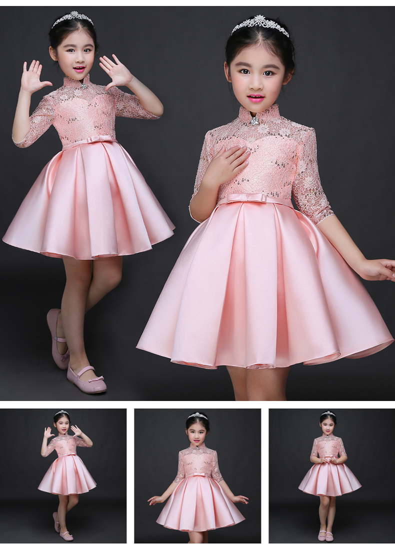 HTB1wn5xSFXXXXc4XFXXq6xXFXXXG - Baby Girl Kid Evening Party Dresses For Girl Wedding Princess Clothing 2017 New Solid Color Bow Moderator Dress Children Clothes