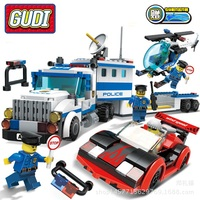 City Car Truck Helicopter Building Blocks Assembled Policeman Gangster Doll DIY Model Toys Brick Play Game Kids G