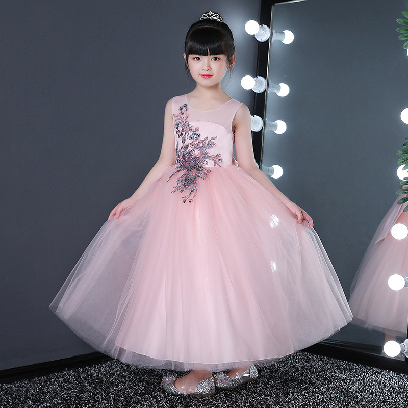 it's YiiYa   Flower     Girl     Dress   for Wedding Embroidery Tulle Tank Ball Gown Long Kid Party Communion   Dress   Princess 2019 CK2830