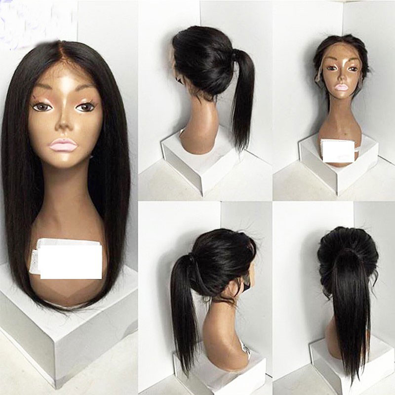 Bombshell Natural Density Black Long Straight Synthetic Lace Front Wigs Glueless Heat Resistant Fiber Hair Middle