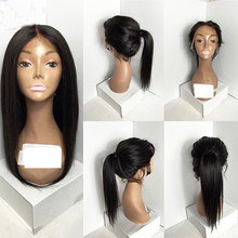Bombshell Natural Density Black Long Straight Synthetic Lace Front Wigs Glueless Heat Resistant Fiber Hair Middle Part For Women