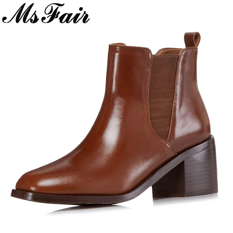 MSFAIR Square Toe Square heel Women Boots Genuine Leather Retro Ankle Boots Women Shoes High HeelS Ankle Boots Shoes Woman 2018 brand new woman real genuine leather square heel half short boots women retro square toe heeled shoes footwear size 34 39