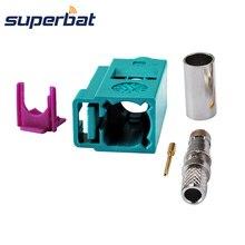 Superbat Fakra Z обжимной водный синий/5021 нейтральный кодирующий разъем Женский Разъем для радиочастотного коаксиального кабеля RG58 LMR195