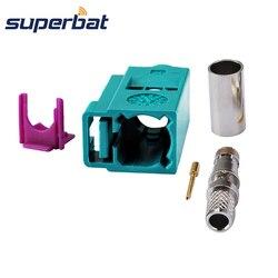 Superbat Fakra Z Crimp Waterblue/5021 Neutral Codierung Jack Buchse für Koaxialkabel RG58 LMR195