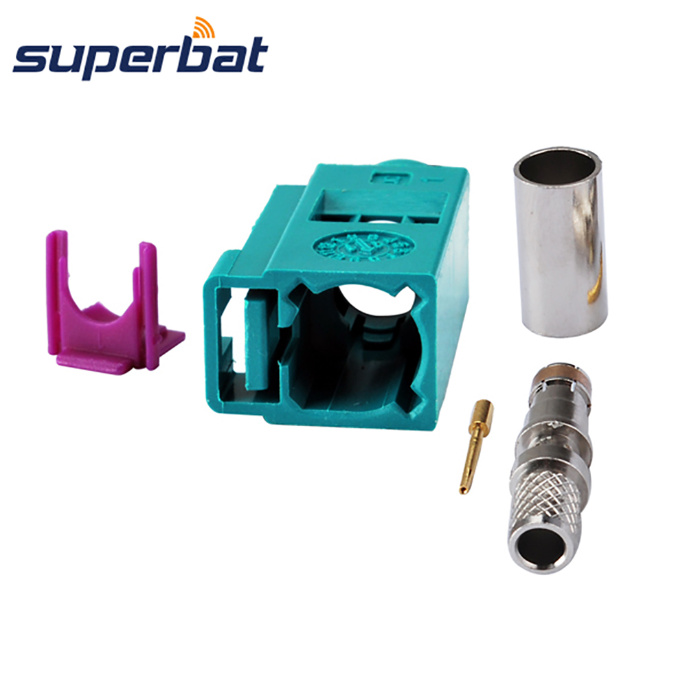 Superbat Fakra Z Crimp Waterblue /5021 Neutral Coding Jack Female Connector For Coaxial Cable RG58 LMR195