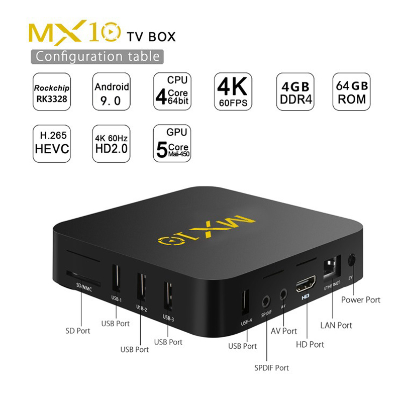 Boîtier TV intelligent MX10 Android 9.0 Rockchip RK3328 DDR3 4GB Ram 64GB Rom IPTV décodeur intelligent 4K USB 3.0 HDR H.265 boîtier lecteur multimédia - 2