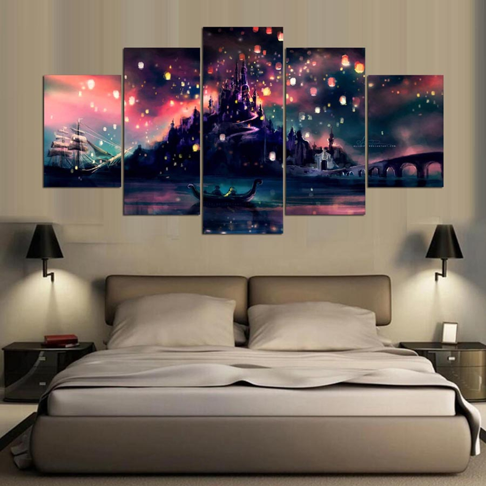 5 pieces hd print painting harry potter hogwarts picture for Decorative pieces for living room