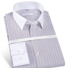 Männer Eisen Langarm Gestreift Camisa Social Dress Shirt mit Patchwork Kragen 100% Baumwolle Männlichen Formalen Business büro Hemd