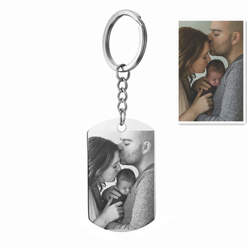 Custom DIY Tag Photo Keychain Stainless Steel Engraved photograph Keychain Keychain Charm Keyring Jewelry custom dog tag photo keychain stainless steel engraved photograph text diy key chain for love dog keepsake
