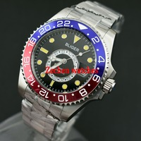 Bliger 43mm Titanium Bezel Sapphire Steel GMT Automatic Luminous Mens Watch 2246