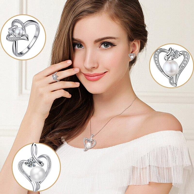Hongye Romantisches Herz Sterling Silber Schmuck Set Perlenkette & - Edlen Schmuck - Foto 6