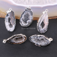 5pcs Nature Geode Pendant, Silver color Metal in Black Quartz Gems stone Pendant For Jewelry Making(China)
