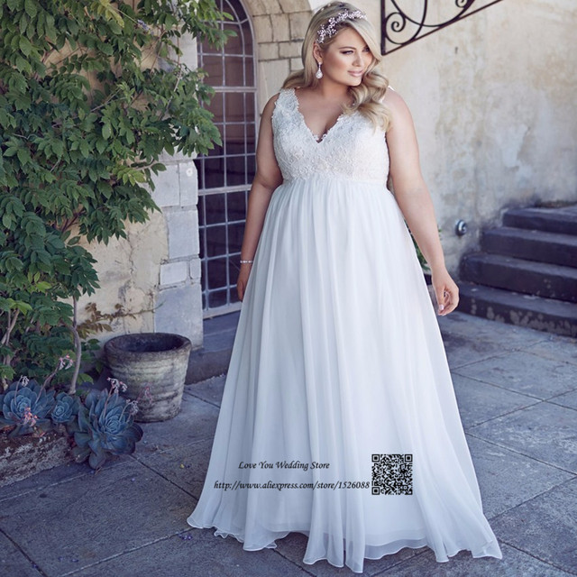 c20427f27bbe Vestido Branco Plus Size Maternity Wedding Dresses Empire Lace Bride Dress  for Pregnant Women V Neck Chiffon Beach Wedding Gowns