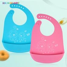 SLKMSWMDJ 1pcs new adjustable silicone bib baby waterproof rice pocket boys and girls saliva towel for 0-6T 4 colors choice