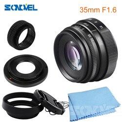 35mm F1.6 obiektywy kamery przemysłowej C mocowanie obiektyw aparatu + osłona obiektywu zestaw do sony NEX-5R NEX-F3 NEX-7 NEX-5N NEX-5C NEX-C3 NEX-3 NEX-5 A6300 A5100