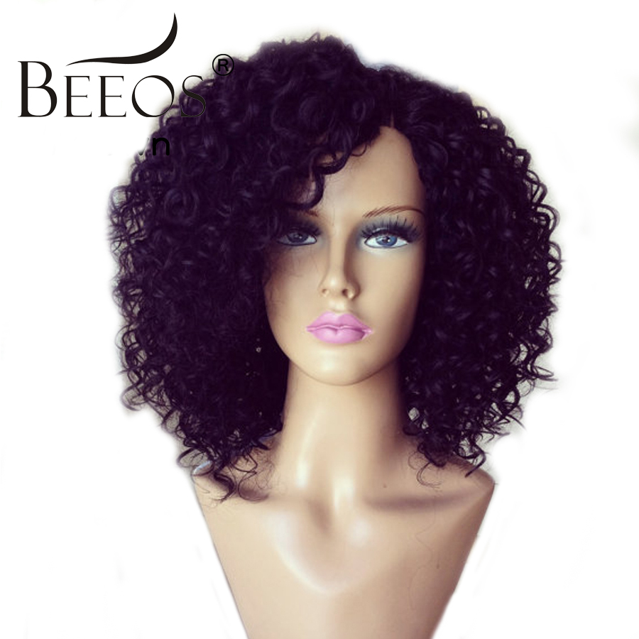 BEEOS 250 Density Lace Front Human Hair Wigs Kinky Curly Brazilian Remy Hair Pre Plucked Lace Wigs For Women With Baby Hair