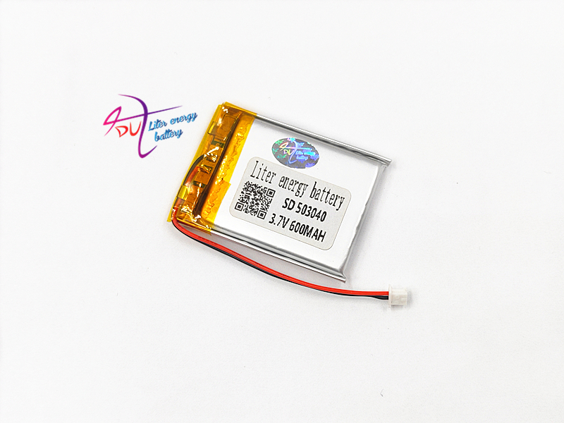 JST 1.25mm 2pin <font><b>3.7V</b></font> <font><b>600mAh</b></font> battery 503040 Lithium Polymer Rechargeable Battery For Mp3 DVD Camera GPS PSP bluetooth electronics image