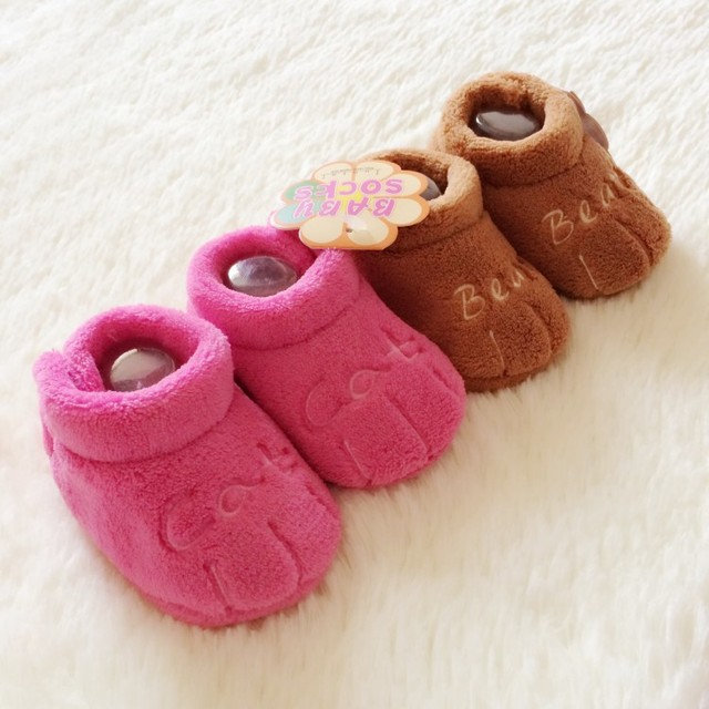 Free Shipping 11CM 12CM 13CM Newborn Baby Shoes Coral Cashmere Keep Warm Cotton Soft Toddler Shoes Baby Footwear 4403