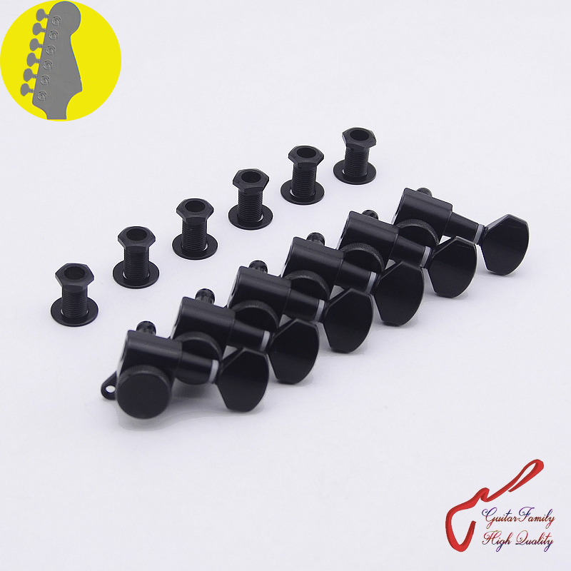 1 Set GuitarFamily  6 In-line  Locking Guitar Machine Heads Tuners  Black  ( #0224 ) MADE IN KOREA 1 set guitarfamily 6 in line kluson vintage guitar machine heads tuners nickel made in korea