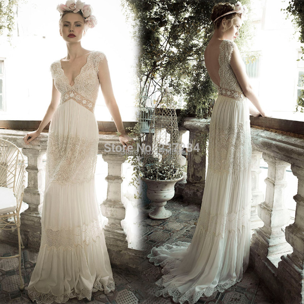 Wedding Gowns For The Mature Bride: Romantic Boho Hippie Bohemian Style Wedding Dress V Neck