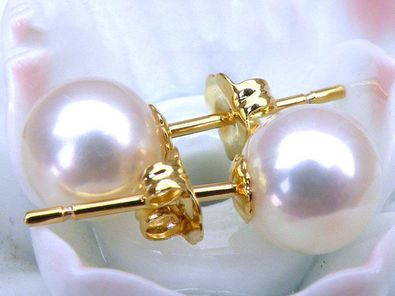 TOP 8MM AAA+++ GRADE PERFECT ROUND WHITE AKOYA PEARLS EARRING 14K/20 SOLID GOLD