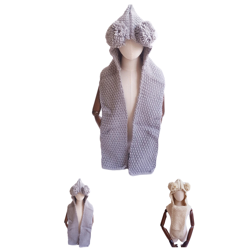 Kid Children Knitted Hooded Shawl Scarf Winter Autumn Plush Ball Cap Hat Ear Covering Warm Keeping