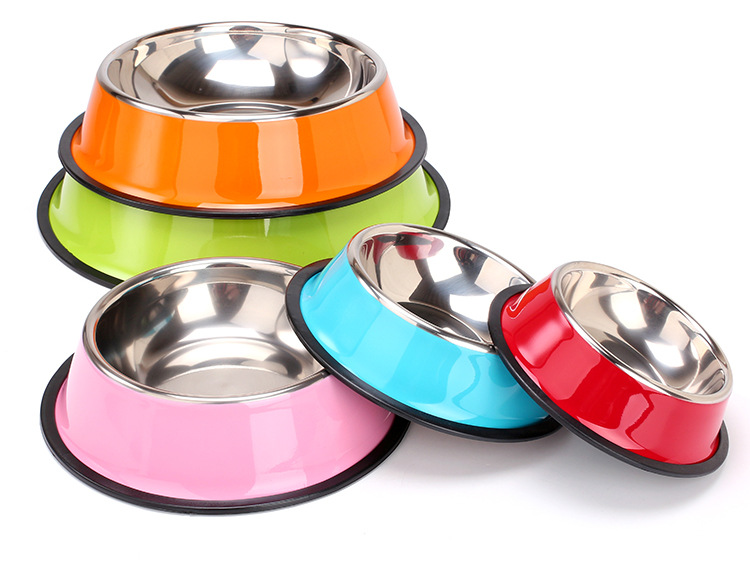 Stainless Steel Dog Bowl Sport Travel Pet Dog Cat  Food Feeder Outdoor Drinking Water Fountain Pet Feeding Tool Cartoon Style #2