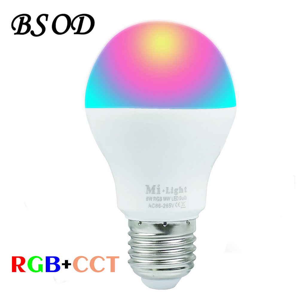 BSOD Milight LED Bulb RF2.4G Wireless E27 6W Wifi Bulb AC86-265V 400-450LM RGBW Cool White/ RGB Warm White Lamp Led Lighting g24 6w 550lm 3000k 55 3014 smd led bulb warm white light bulb white silver ac 85 265v