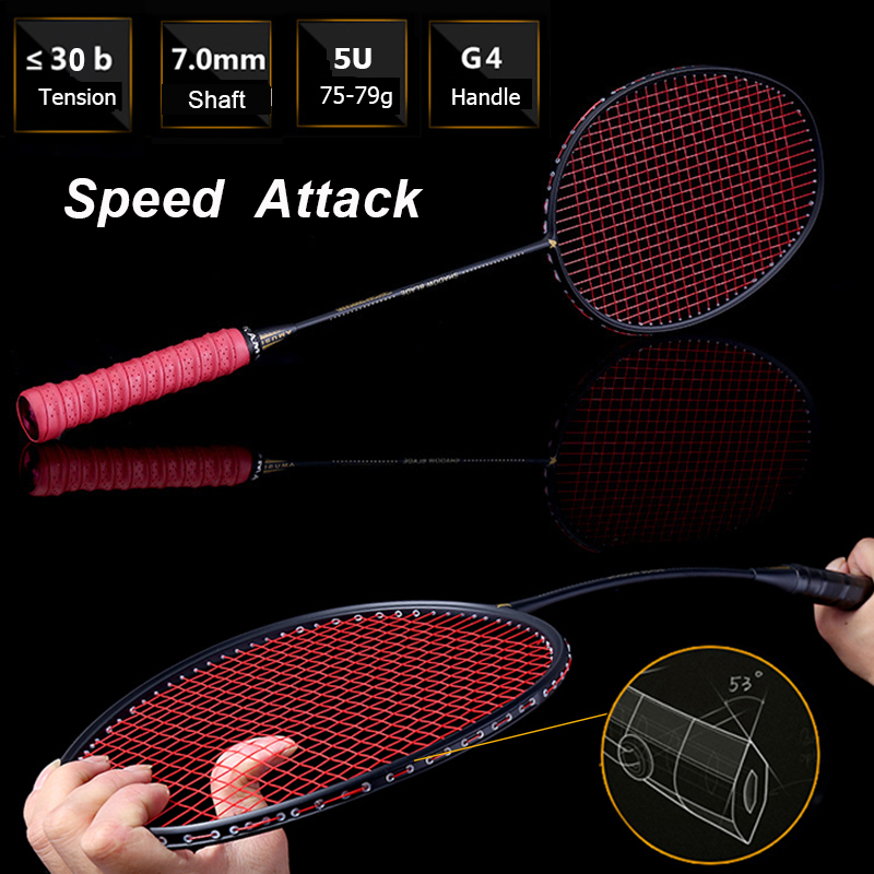 75g Speed Attack Carbon Badminton Racket High Tensions Powerful Smash Badminton Racquet 22-30 LBS With Carry Bag