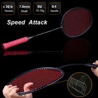 LOKI 75g Speed Attack Carbon Badminton Racket High Tensions Powerful Smash Badminton Racquet 22 30 LBS with Carry Bag