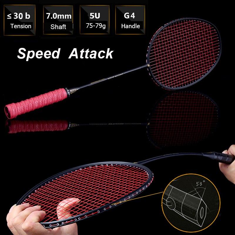 LOKI 75g Vitesse Attaque De Badminton De Carbone Raquette Haute Tensions Puissant Smash Badminton Raquette 22-30 LBS avec Carry sac