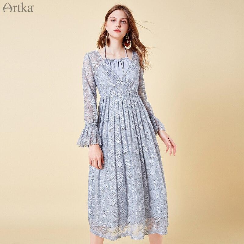 ARTKA 2019 Summer Women Lace Mesh Dress Cotton Long Sleeve Thin Sexy V Neck Bohemian Style