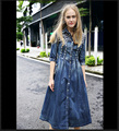 designer spring autumn 2016women hig end designer fashion beaded High Waist slim long denim ball gown dress plus size