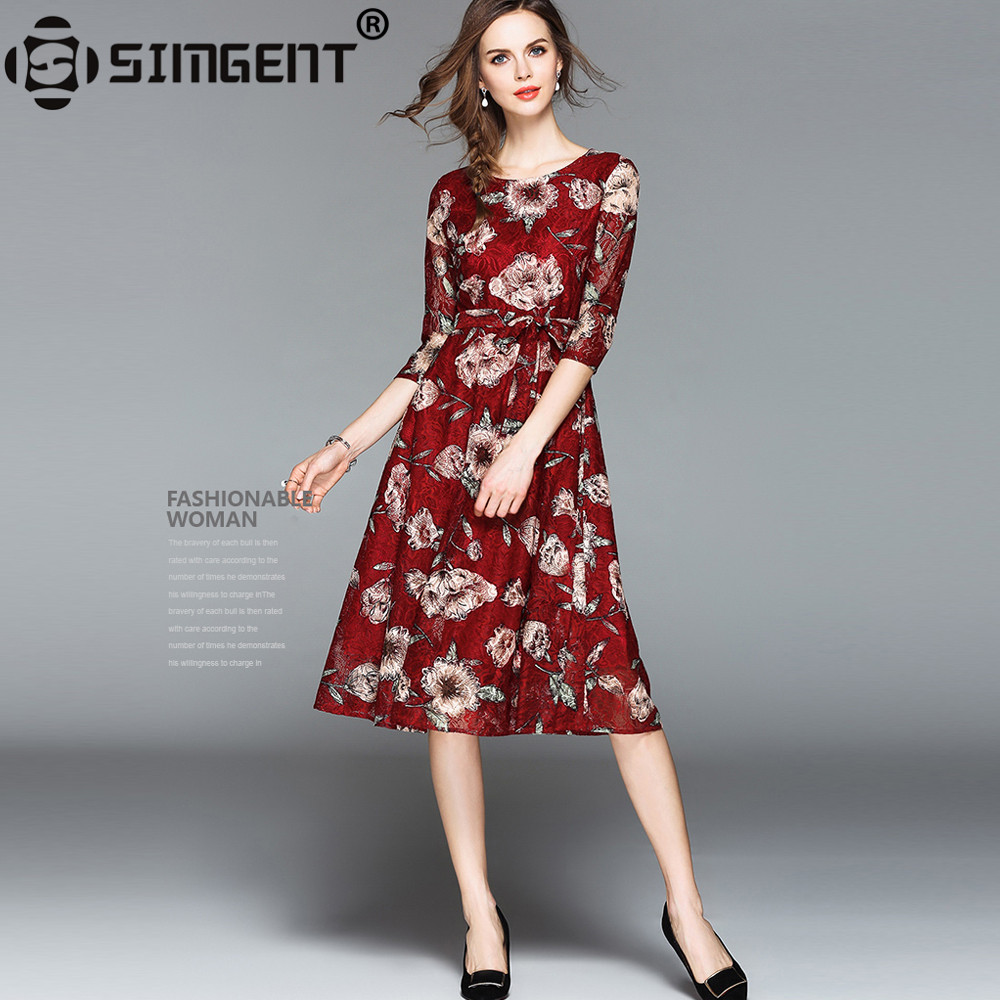 Simgent Summer Dress Casual Vintage Three Quarter Sleeve A Line Casual Party  Women Lace Skater Dress Dames Jurken Vestido SG8486 74779df6aa