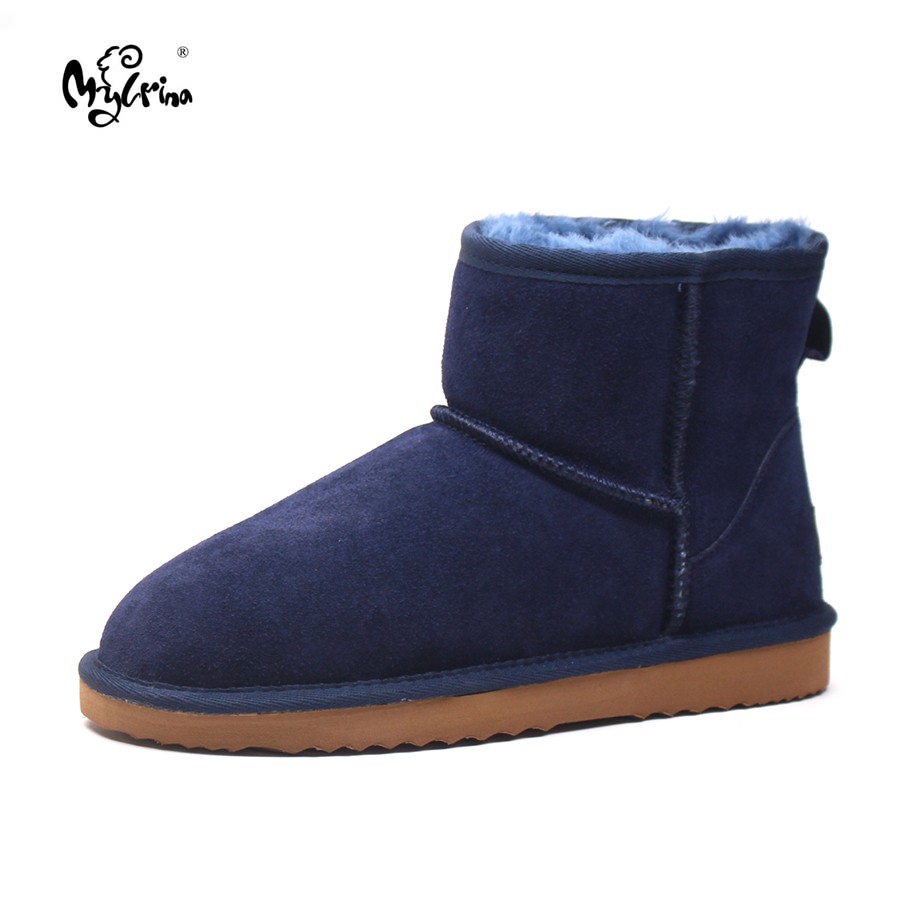 Top Quality New Genuine Cowhide Leather Snow Boots Natural Fur Botas Mujer Winter Real Wool Fashion Ankle Shoes For Women sexemara brand 2016 new collection winter boots for women snow boots genuine leather ankle boots top quality plush botas mujer