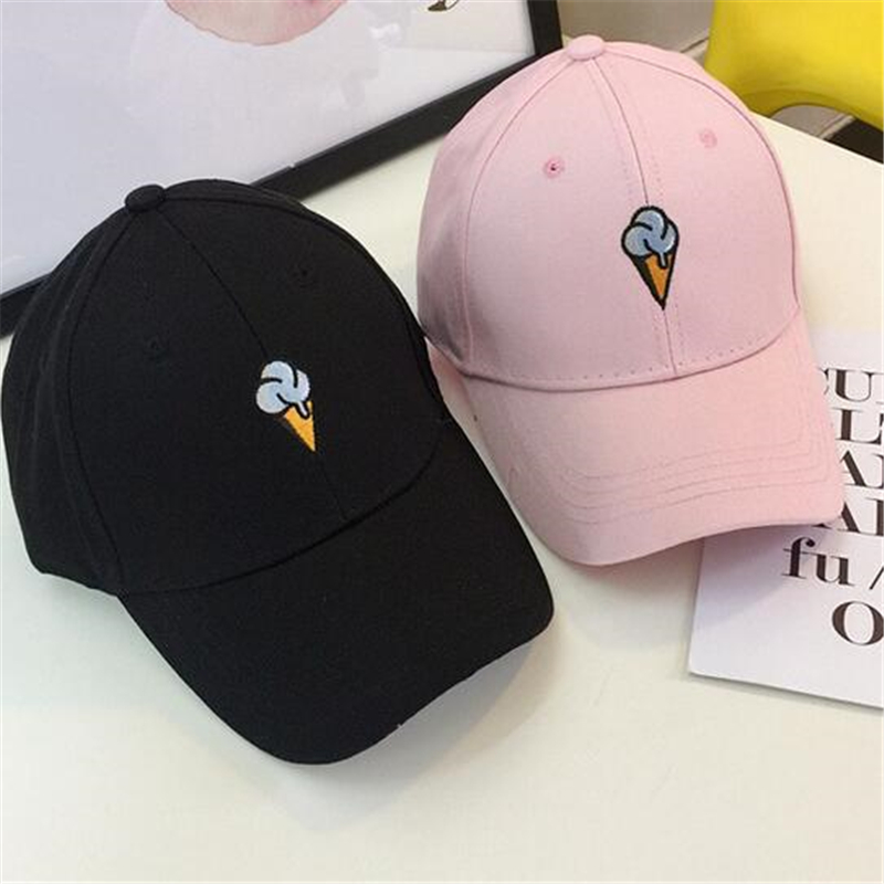 New Cotton Hat Ice Cream Embroidered Baseball Cap for Men and Women Sun Hat Snapback Caps Cotton Canvas 2016 new new embroidered hold onto your friends casquette polos baseball cap strapback black white pink for men women cap