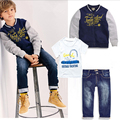 2016 Children's Clothing Sets Baseball Jacket+T-Shirts+Jeans 100% cotton Boy's Suit Set Sport Kids Sets Free Shipping