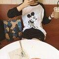New SexeMara Women  Mickey  T Shirts Cotton Ladies Casual Long Sleeve O-Neck T-Shirt Brand Tops