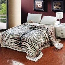 Tiger Skin Printed Winter Bed Blankets Twin Queen Size Warm Bedspread For Double Imitated Wool Couple