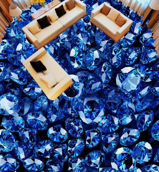 3d Photo Wallpaper Customize Gorgeous Blue Floor Living Room Diamond Jewelry Tiles