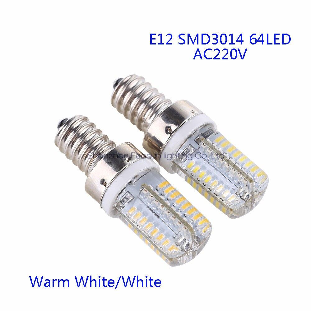 5pcs/lot E12 LED Bulb Lamp High Power SMD3014 64LEDs AC220V AC110V White/Warm White Light replace Halogen Spotlight Chandelier lan mu g4 led bulb lamp high power 3w 5w 6w smd2835 3014 dc ac 12v white warm white light replace halogen spotlight chandelier