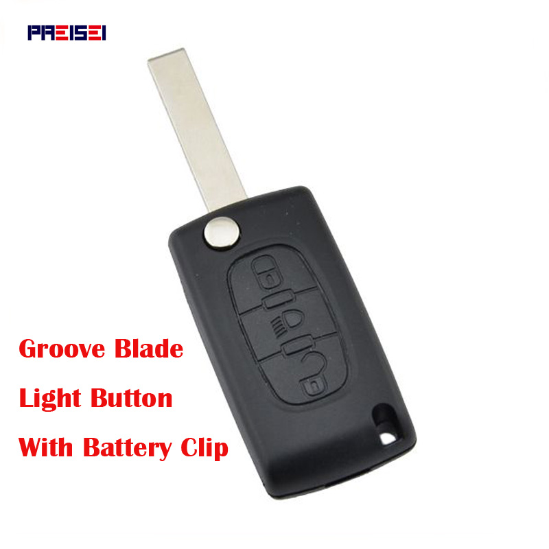 PREISEI 20pcs/lot 3 button Light CE0536 Replacement Flip Remote Car Key Case For Citroen With Battery Holder Blade Groove-in Car Key from Automobiles & Motorcycles    1