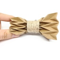 Free shipping special Original design washed kraft paper origami creative Headdress bridegroom wedding party men's male bow tie
