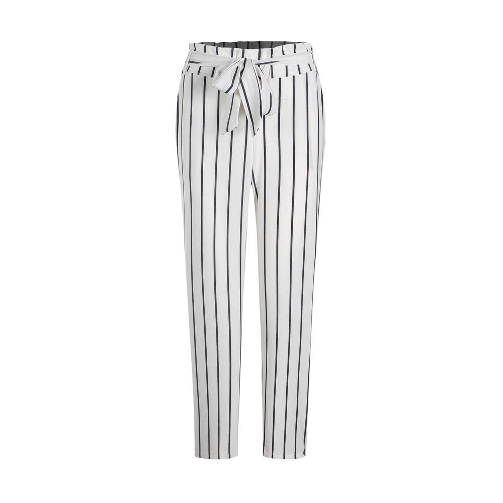 Skinny Women Striped Long Jeans Tie High Waist Ladies Pants Trouser Pantalones Mujer Korean Style Pants Women Trousers W312