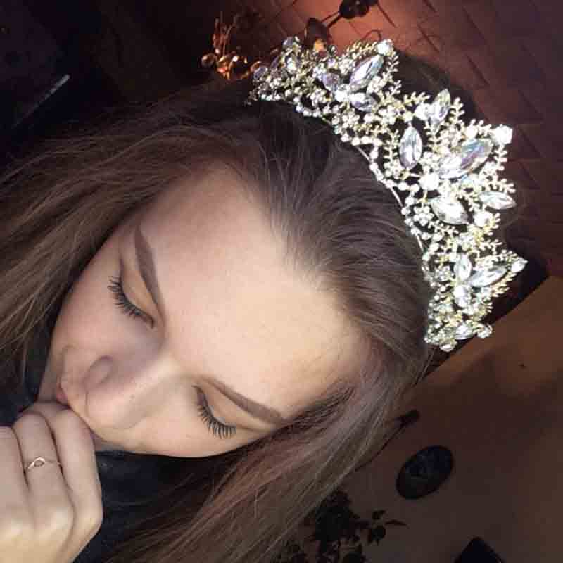 New Fashion Baroque Luxury Crystal AB Bridal Crown Tiaras Light Gold Diadem Tiaras for Women Bride Wedding Hair Accessories 10